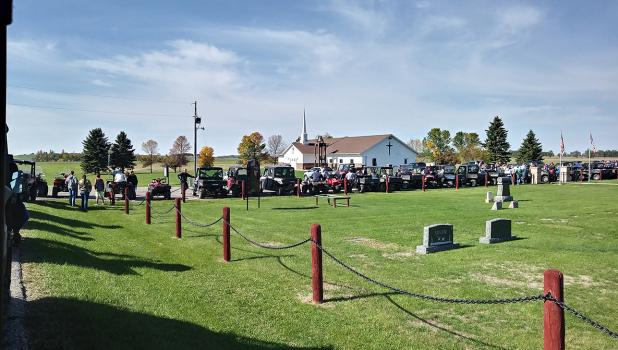 The riders were lined up and ready to go in front of Vernes Lutheran Church and along County Highway 5 north of McIntosh.