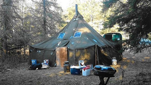 The original Malvig camp tent was replaced in the 1950s with a 16-by-16 Korean War surplus tent, shown above and it is still in use.