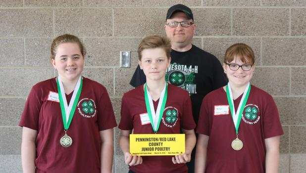 4-H Northern Regional Project Bowl Team (left to right) Brianne Ellison, Rylan Torstveit (Pennington County), Chad Torstveit, Project Bowl Team Coach, and Hailey Hanson (Red Lake County).