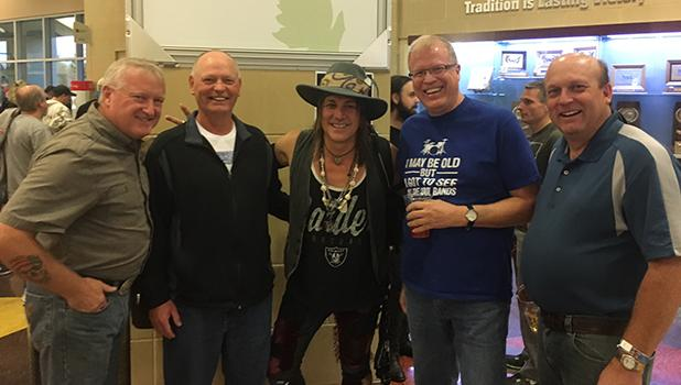 Pictured are Dick Wittenberg, Rocky Eck, Cooper drummer Ryan Roxie, Jim Clemenson, and Randy Pederson at the recent Alice Cooper concert. Missing is Rick Eck of Bemidji who could not attend the reunion of this group from the Gonvick Class of '79.