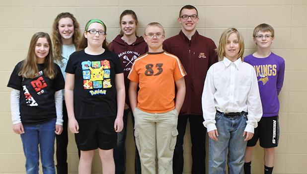 RLCC seventh and eighth graders who attended the Creativity Festival at Bemidji State University: (Front) Taya Morinville, Hannah Bassage, Jonathan Roue, and Jeremiah Rathsack. (Back) Karena Melby, Kia Bachand, Tristyn Ferguson, and Brody Moen.