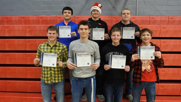 Spotlight on Scholarship awards were presented to Rebel football players: (top, left to right) Trent Goulet, Austin Jensen, Adrien Verbout, (bottom) Zach Benson, Derek Peterson, Jed Duden, and Tyler Eskeli. Award winners not photographed include Connor Lambert, Chris Longtin, George Duden, and Gunnar Thompson.