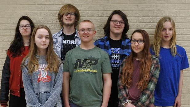 "Come to RLCC's play March 29-31 at 7 pm. The Three Act cast are performing, ""You Know the Old Slaying,"" by Michal Jacot. Back row; Jayden Iverson, Tom Nelson, Danny Guillemette, and Remi Rathsack. Front row: Luci Svendsen, Jonathan Roue, and Lilly Hanson."