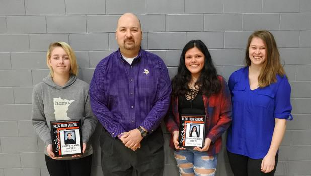 Red Lake County Central February Students of the Month. Annika Senum was nominated by Mr. Randy Huie and Madeline Inda-Valdez was nominated by Ms. Jeri McDonald.