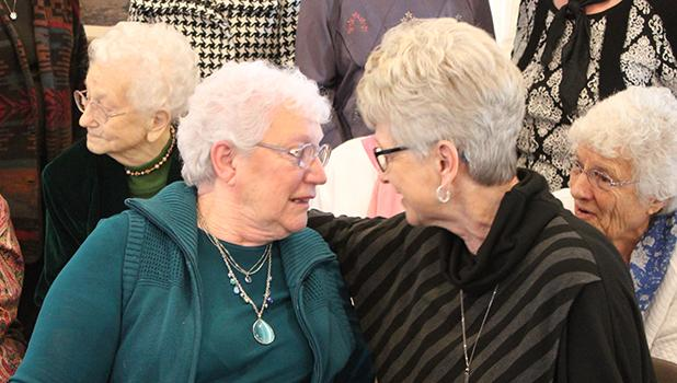 Alice Gunderson and Eileen Lien have a little chat after Alice was named the 2017 Clearwater County First Lady. Eileen had the honor last year.