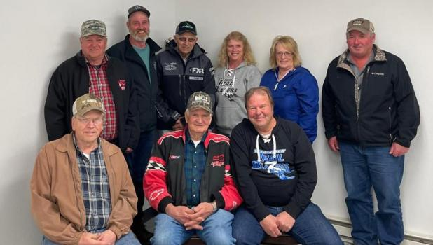 Some of the Groomer operators, trail directors and officers of the Clearwater Trailblazers Snowmobile Club. Front row: Ken Brien, David Rongstad, Lee Peterson.  Back row Craig Strandlien, Todd Olsen, Warren Lundmark, Gail Friborg, Sharon Dyrdahl-O'Bryan and Brian Beckstrand.