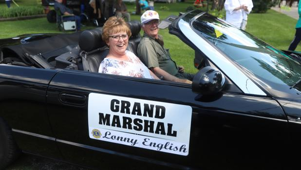 Lonny English was chosen by the Gonvick Lions Club to be their Grand Marshall for the 29th annual Rodeo parade. She is being driven in the parade by Gonvick Lion member Dick Richards.