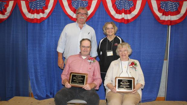 Clearwater County 2017 Outstanding Senior Citizens Jim Chesley and Beatrice Ricke with their awards at the fair. Standing are Al Paulson, Clearwater County Fair Board and Karen Lenius Director with the Mahube Senior Program