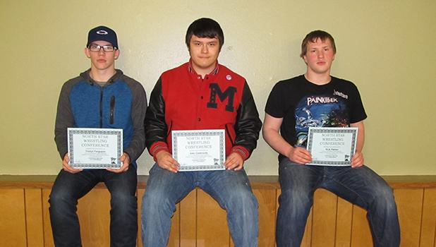 North Star Conference Honorable Mention Awards were given to (left) Tristyn Ferguson, Alec Castaneda, and Nick Pahlen at the RLCC Wrestling Awards Night.