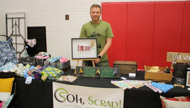 Corey Olson, former Okleeite, now lives in Rochester, MN brought his wares to Oklee Market Day.