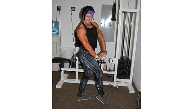 Karen Bratvold showing her winning pose at the Gain Fitness in Clearbrook.