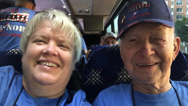 Nancy Vyskocil traveled with her father Ordean, a resident of Clover township, on the National Honor Flight trip to Washington, D.C.  A group of nearly 100 veterans traveled by bus to visit memorials and other sites throughout the city