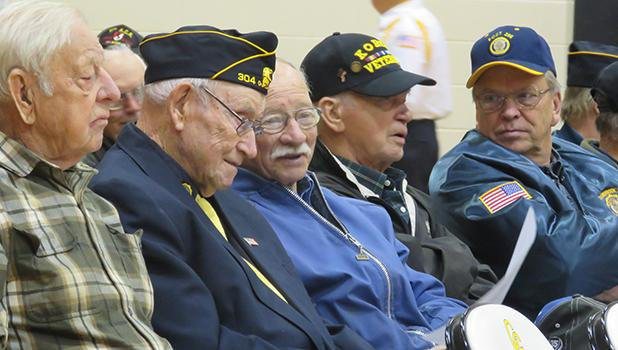 Many veterans were honored at the Veterans program that was held at the Clearbrook-Gonvick School on Friday, November 10. Five of them are shown from left to right: John Brendalen, Marvin Wolden, Ordean Erickson, Ordean Swanson and Ken Brein.
