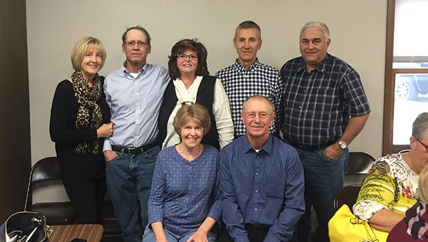 Jim Stordahl's classmates that attended the Benefit on Sunday afternoon in McIntosh were: (back, l-r) Naomi Thompson, Craig & Bev (Tangen) Helgaas, Mark Hartel, Rudy Finseth; (front, l-r) Annette Carlson and Calvin Schow.