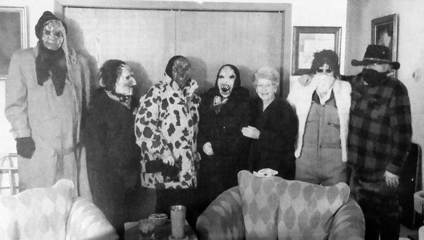 January 2020: Mary Goodwin receives Julebukking guests on December 27th when some McIntosh residents got together to carry on the Scandinavian tradition throughout town.