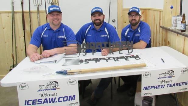 The guys of Northern Spiked Darkhouse Spearing: Trent Oftedahl, Jordan Gunafson and Jered Gunafson. They took a passion for darkhouse spearing and turned it into a successful business.
