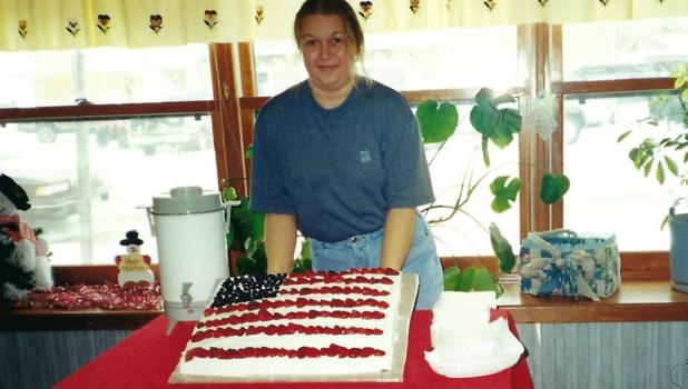 Teresa Benson will celebrating 20 years as the operator of the Oklee Cafe on July 1st.  (This picture was in the Oklee Herald on July 12, 2001.)