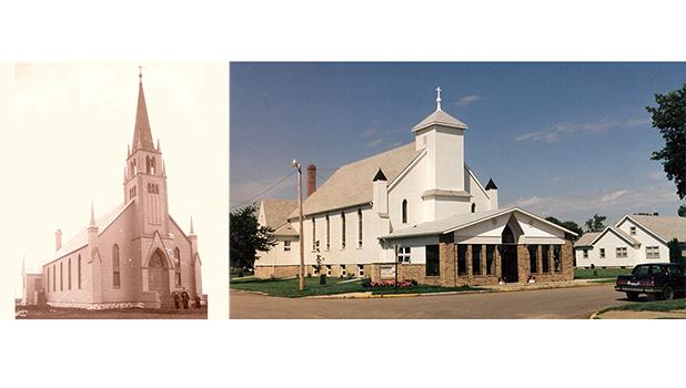 The original church as it stood in Lambert, MN, a litte over a mile as the crow flies, was moved to the new town of Oklee in 1917. St. Francis Xavier as it looks today. Fr. J. Archambault was responsible for the building of the original church building, measuring 40 feet by 90 feet in 1899.