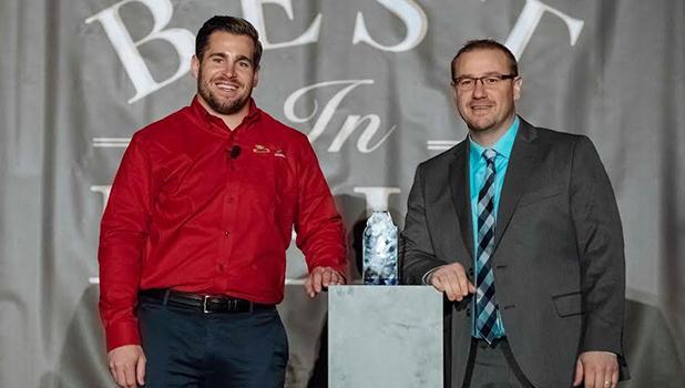 Brent Philipp, right, is pictured with Jesse Hamonic, DEKALB Asgrow Brand Lead.
