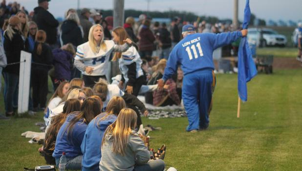....and he's out of retirement! That's right! Lon Bolt is back in action on the sidelines for Charger's football! He made a few mad dashes up and down the field last week as the Chargers beat the Patriots 28-22! Photo by Grygla Eagle