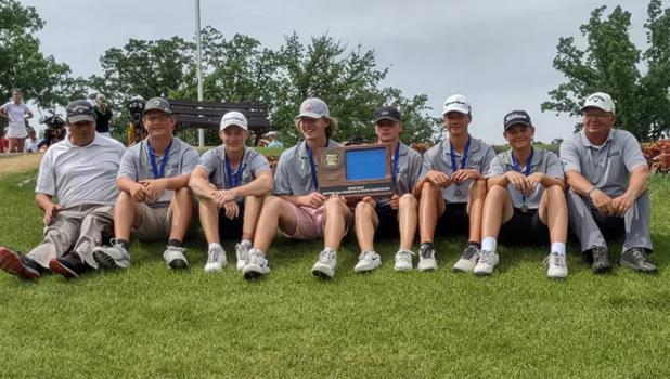 Justin Thompson, 2nd from the left, and the rest of his Roseau Rams golf team were named Section Champs in Bemidji last week. They advanced to State, where they will compete this week in Jordan, MN. Photo courtesy of Bob Thompson