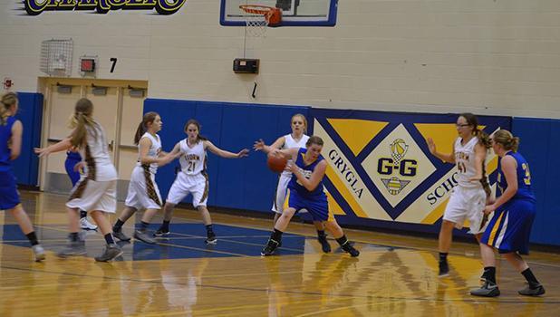 GG Junior Varsity Team against SAC last week. Pictured is Cheyenne Irlbeck on offense.