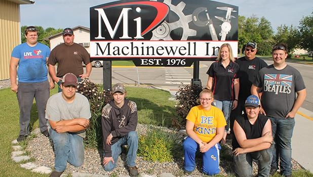 Students currently working at Machinewell are pictured with the local company's recruiters, Bryan Dougherty, Tonia Haack and Eric Dougherty. Front row, L-R: Ethan Englund, Owen Gross, Layla Jelle, Josh Johnson. Back row: Anthony Loken, Bryan Dougherty, Tonia Haack, Eric Dougherty and Jake Ahlbeck. Not pictured: Jamie Dougherty and Mya Anderson. Photo by Grygla Eagle Newspaper