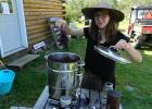 At the Honeyberry Farm in Bagley, Carla Weideman learned how to use a juicer/steamer to extract elderberry juice. Adding some cinnamon and cloves to the process produces a delicious, healthy drink which can be served hot or cold.