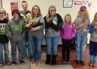 Clearwater County Livestock PDC hosted a Poultry Project Day on Saturday, February 23rd.  Left to right: Matthew Rankin, Peyton Berg, Daniel Rankin, Savanna Rankin, Kayla Johnshoy, Evelyn Warmbold, Payton Bennett, Adison Powell