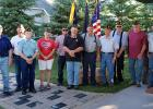The American Legion Post 159 gathered on June 14th, Flag Day, to properly dispose of American flags that have designated not able to be in use. Pictured is from left to right: Wallace Nelson, Larry Skallet, Don Brown, Jan Dulka, Bruce Bjerklie, Commander Rick Dulka, Einar Kvasager, Don Stenberg, Bennet Larson, John Lerohl and John Lessard.