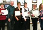 Minnesota State Horticultural Society's 12th District Crystal Leaf Award Winners: Blackduck - Jackie Barclay (accepted for Valessa Hentges), Bemidji - Wally & Cathy Peck, Shevlin - Nancy Ames, Park Rapids - Margie Hoff, MSHS District President - Karrie Kapsner, (Not Pictured Cass Lake - Wanda Arenz).