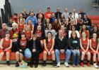 """RLCC Mustangs girls' basketball team with their honored guests for """"Gratitude Activity"""" at the last home game.  The guests were those the players were thankful for and had impacted their life."""