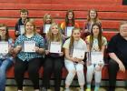 RLCC one-act play cast members receiving Spotlight on Scholarship certificates were: (Back) Britain Arlt, Remi Rathsack, Jade Person, Natalie Aakhus, (Front) Kara Longtin, Dede Walton, Tara Qualley, Jayden Fore, and Sydney Melby.