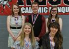 Seniors who received medals at the RLCC Academic Banquet were (front) Hannah Kolstoe, Sydney Melby, (back) Katie Olson, Matthew Vettleson, and Kara Longtin.
