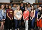 Judy Schue is retiring from RLCC School at the end of this school year. Also pictured are the sophomore and junior online class students who she supervised.