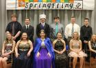 Royalty included, L-R: Elise Monson & Cory Cleven (10th grade), Julianne Nordby & Jordan Herseth (12th grade), Queen Abby Kiesow & King Peyton Verbout (11th grade), Jamie Dougherty & Josh Johnson (9th grade), Katelyn Larson & Walter Jones (8th grade), Chloe Osse & Tre Alten (7th grade).