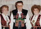 Helen and Orlando Chervestad (Oklee) and Ethel Wiseth (Goodridge), taken at the Norwegian Hostfest in Minot, ND in October 1987. They are wearing Telemark (Helen), Setesdals (Orlando) and Telemark (Ethel) bunads.