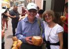 Gary and Natalie Boorman enjoying some fresh coconut milk.