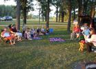 It was a beautiful evening to hold a Backpack Blessing service at the Oklee North Park. Dawn (Hegge) Hanson was the lay minister for the evening.