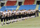 The Bears in line for the National anthem before the big game at the Fargodome. They met the Stephen-Argyle Storm on Thursday, November 3 ending the season with a loss 41-22.