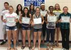 Letter Winners at the RLC T&F Banquet were Back row (l to r): Chris Longtin, Ashley Longtin, McKenzie Williams, Julia Bernstein, Megan LaCrosse. Front row (l to r): Madison Derosier, Clara Girdler, Kjerstin Nelson, AJ Jones, Zoe Russillo, and Jade Person (not pictured) (Manager).