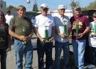 Winners selected by the car show participants received $100 each. No entry fee is required. From left to right: Stacy Halvorson, Les Berg, Gully; Rick Myrum, Pengilly; Bob Prosser, Hallock; Brant Melbo, Bagley and Mary Gustafson, East Grand Forks and Pine Lake.
