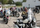 A variety of motorcycles and trikes are lined up and getting ready for the Clearwater County Veterans Memorial Ride.