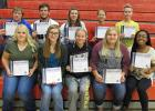 Recipients of Spotlight on Scholarship certificates for band and choir were (front) Lacey Pendleton, Kara Longtin, Brandi DeHate, Marie Johnson, AJ Jones, (back) Nick Pahlen, Phillip Sorenson, Sydney Melby, Sidney Olson, and Abby Walton.