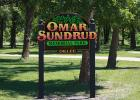 "During Market Day last year Scott Sundrud and Jack Sundrud were presented with the honor of naming the Oklee North Park, the ""Omar Sundrud Memorial Park"". This is the new sign that is now in the park."
