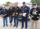Car Show winners at the Gonvick Pumpkin Day and Car Show who took home 100 dollars each. The winners are selected by votes from each car show participant. Winners from last weekend were from left to right: Steve Fjerstad, Fosston; Angie and Gary Coan, Bemidji; Rick Myrum, Pengilly; Randy Ridlon, Solway and not pictured, Owen Shegrud, Bagley who had to go to attend a wedding before the awards were announced.