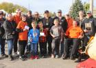 Pumpkin weigh off winners at the Gonvick Pumpkin Day activities were from left to right in the front row; Ray and Monique Norman, Anne Bergh, Leo and Jack Nordlund, Bryson Fiedler and the winner a second year in a row Wade Klema. Back row: Frank Bergh, Wayne Bergh and Lori Bahr, Jesse Eck, Blake Prestemon, Tucker Johnson, Bob Edevold, JJ Solberg and Charlie Bergh.