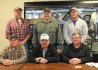 Officers and directors of the Clearbrook Elevator Association for 2016 seated left to right; Scott Anderson, Vice President, Mark Strandberg, Director and Les Westrum, Manager of the Clearbrook Elevator. Standing: Scott Fawver President, Dave Engebretson reelected as director and Mike Nordlund Secretary.