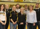 1000 point and 1000 rebound club for the Clearbrook-Gonvick Bears were honored. From left to right: Liz Bodensteiner, Maddie Stenzel, Whitney Rogstad, Sam Lavin, Brook Wraa, Clayton Johnson, Kris Hopperstad and Brennan Bakke. Photos by Kendehl Ballard
