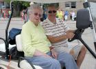 Rosie Odegaard 98-year-old Gonvick resident enjoyed the Gonvick Lions parade from the comfort of this golf cart. It was driven by her son Arvin Odegaard from Rochester, New York.